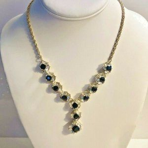 Charter Club Crystal & Black Stone Lariat Necklace